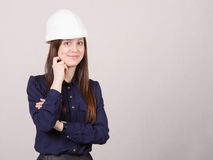Portrait a beautiful young girl in helmet of twenty-five Royalty Free Stock Image