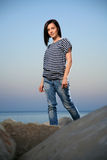 Portrait of a beautiful young girl with jean Royalty Free Stock Image