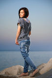 Portrait of a beautiful young girl with jean Royalty Free Stock Photography