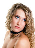Portrait of a beautiful young girl with long blond wavy hair Stock Photo