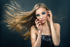 Portrait of beautiful young girl with  long hair Stock Photos