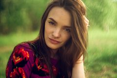 Portrait of Beautiful Girl in nature royalty free stock images