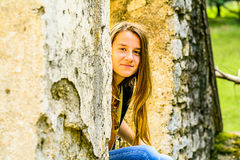 Portrait of a beautiful young Girl. In the Park stock photos