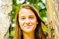 Portrait of a beautiful young Girl. In the Park stock photo
