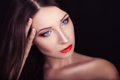 Portrait of a beautiful young girl with professional makeup Stock Photo