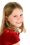 Portrait of Beautiful Young Girl in Red Velvet Royalty Free Stock Image