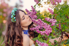 Portrait of a beautiful young girl in spring Stock Images
