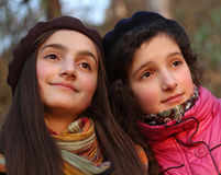 Portrait of beautiful young girls Stock Photos
