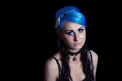 Gothic woman with blue hairs Stock Photo