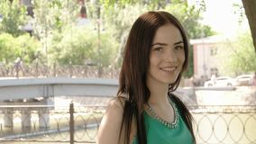 Portrait of beautiful young happy smiling casual stock video
