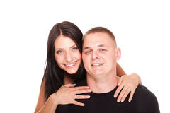 Portrait of a beautiful young happy smiling couple isolated Royalty Free Stock Images