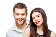 Portrait of a beautiful young happy smiling couple stock photo