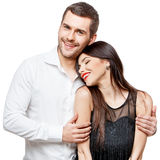 Portrait of a beautiful young happy smiling couple Stock Photos