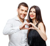 Portrait of a beautiful young happy smiling couple royalty free stock photography