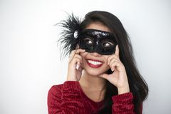Beautiful lady in mask stock images