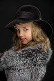 Portrait beautiful young lady in grey fur and hat Stock Images