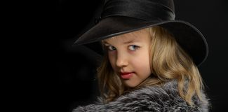 Portrait beautiful young lady in grey fur and hat Stock Image