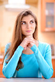 Portrait of a beautiful young lady at home Royalty Free Stock Photos