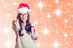 Portrait of beautiful young lady in Santa Claus Stock Photography