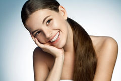 Portrait of a beautiful young Latina girl toothy smiling Stock Photo