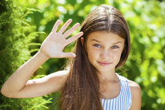 Portrait of a beautiful young little girl Stock Photos