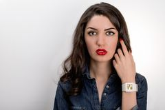 Portrait Of Beautiful Young Mediterranean And Middle Eastern Brunette Hair Girl With Perfectly Plump Red Lips Make Up And Red stock photography
