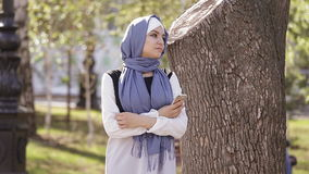 Portrait of Beautiful Young Muslim Girl stock footage