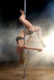 Portrait of a beautiful young pole dancer Royalty Free Stock Photos