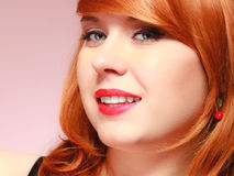Portrait beautiful young redhaired woman Stock Photography