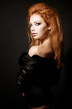 Portrait of beautiful young redhead woman Stock Images