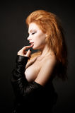 Portrait of beautiful young redhead woman royalty free stock images
