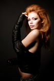 Portrait of beautiful young redhead woman Stock Photos