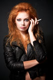 Portrait of beautiful young redhead woman Stock Photo