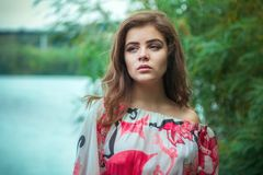 Portrait of beautiful young sad brunette woman Royalty Free Stock Photo