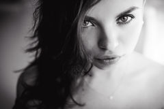Portrait of a beautiful young sexy brunette girl with expressive eyes and  full lips Stock Photos