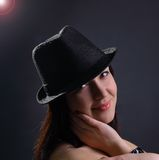 Portrait of beautiful young sexy woman in hat Royalty Free Stock Photography