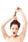 portrait of beautiful young shouting brunette Stock Photography