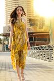 Portrait Of Beautiful Young And Slim Brunette Girl Wearing Yello Stock Photos