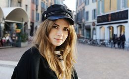 Portrait of a beautiful young woman in Italy royalty free stock images
