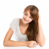 Portrait of a beautiful young smiling girl. Stock Photos