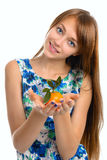 Portrait of a beautiful young smiling girl. royalty free stock photography