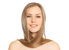 Portrait of beautiful young smiling woman with long hair Stock Images