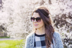Portrait of beautiful young smiling woman with sunglasses Royalty Free Stock Photo