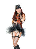 Portrait of a beautiful young steampunk woman. Wearing old-fashioned fantasy clothes isolated on white background stock image