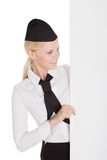 Portrait of beautiful young stewardess Stock Images