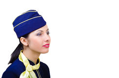 Portrait of beautiful young stewardess profile. Close-up, isolated Royalty Free Stock Photos