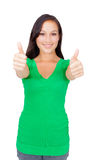 Portrait of beautiful young success woman giving thumbs up Royalty Free Stock Photography