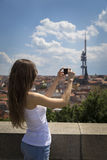 Portrait of a beautiful young tourist woman Stock Image