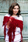 Portrait of a beautiful young Ukrainian embroidered shirt Royalty Free Stock Images
