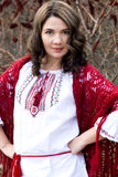 Portrait of a beautiful young Ukrainian embroidered shirt Royalty Free Stock Photography